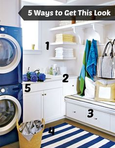 5 Ways to Get This Look:  Pop of Color In the Laundry Room