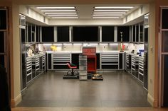 Garage // I want an awesome huge garage...with a show section for storage, and then a section on the side for working, with tools and a lift