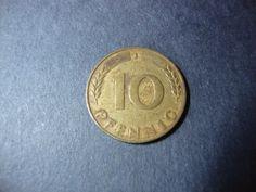 SALE  1949-J Germany 10 Pfennig Coin  Ten Pfennig  by CoinCorner