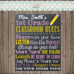 Classroom Rules Chalkboard Sign Teacher's Owl by punkydoodlekids Teacher Name, Classroom Rules, Raise Your Hand, Doodle Designs, Do Your Best, Chalkboard Signs, Be Kind To Yourself, Card Stock, Printables