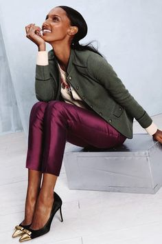 12 J.Crew Catalog Outfits That Work in Real Life - In this look, mix luxe fabric with green army jacket