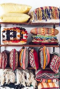 My studio: Jungalow HQ big reveal    These pillows are sooooo delightful.  They deserve a romp in the Elysian fields of Pillow Paradise. # jungalow # bohemian decor # tribal prints