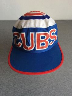 Chicago Cubs Hat Painter 80s VTG Wrigley Red White Blue Cap Baseball MLB Twins