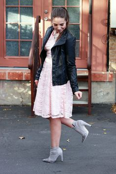 faux leather jacket, lace dress, pointy toe booties, edgy outfit, girly outfit, pink