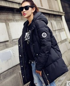 2015 winter duck down coats women loose medium long hooded jacket casual parkas overcoat thickening female plus size snowwear-inDown & Parkas from Women's Clothing & Accessories on Aliexpress.com US $33