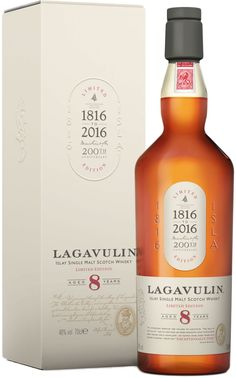 Lagavulin Limited Edition 8 Year Old Single Malt Scotch Whisky | @Caskers This limited edition whisky honors Lagavulin's 200th anniversary, and is inspired by whisky writer Alfred Barnard's travels to the distillery in the 1880s.