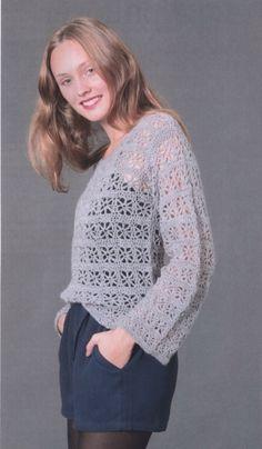 Серый ажурный пуловер