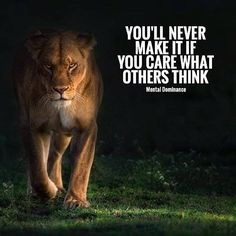 You'll never make it if you care what others think.