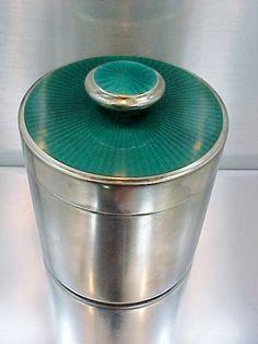 Sterling Silver DAVID ANDERSEN Green Enamel Cigarette Box