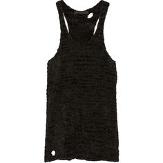 Alexander Wang Textured-knit tank ($223) ❤ liked on Polyvore featuring tops and black