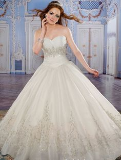 White Quinceanera Dresses - Long Dress With Jeweled Skirt Hem