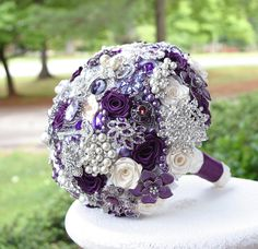 Majestic Purple Wedding Brooch Bouquet. Deposit on made to order Heirloom Bridal Broach Bouquet. via Etsy