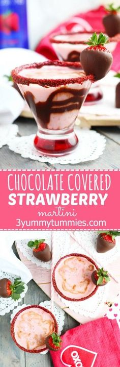These Chocoalte Covered Strawberry Martinis are my favorite Valentine's Day dessert turned cocktail!  Plus learn to make your own chocoalte covered strawberries.