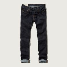 Abercrombie & Fitch Skinny Button Fly Jeans ($39) ❤ liked on Polyvore featuring men's fashion, men's clothing, men's jeans, rinse, mens dark jeans and mens cuffed jeans