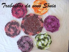 Trabalhos da vovó Sônia: Porta-copos mandala mescla - croché