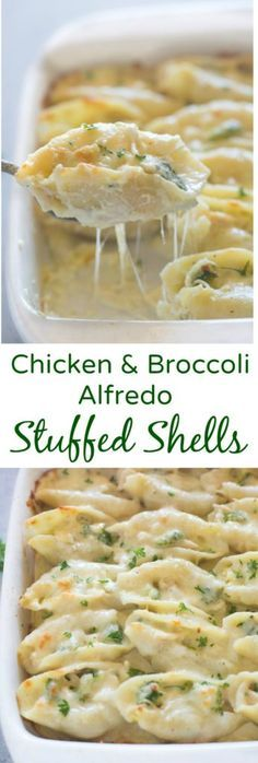 Chicken and Broccoli Alfredo Stuffed Shells include tender pasta shells filled with a cheesy shredded chicken and broccoli mixture and smothered in an easy home