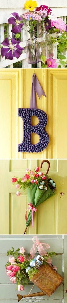 Spring Crafts- love the umbrella instead of a wreath