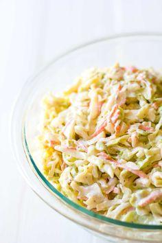 Perfect Vegan Coleslaw | Vegan coleslaw in a serving bowl | Plant-based | Oil-free | https://passtheplants.com/