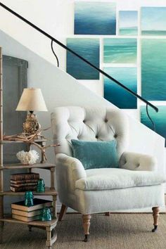 Love the photos of the ocean. 25 Chic Beach House Interior Design Ideas Spotted on Pinterest  - HarpersBAZAAR.com