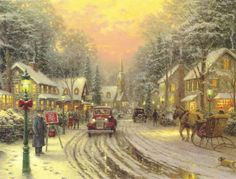 thomas kinkade images, image search, & inspiration to browse every day. Thomas Kinkade Art, Thomas Kinkade Christmas, Christmas Scenes, Christmas Art, Beautiful Christmas, Kinkade Paintings, Oil Paintings, Thomas Kincaid, Art Thomas