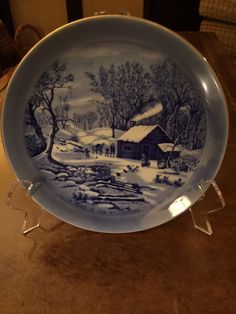 Sanyei Currier and Ives Plates In Blue (4) by AlbertsonMiller on Etsy