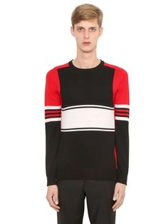 GIVENCHY Color Blocked Wool Sweater, Black/Multi. #givenchy #cloth #knitwear