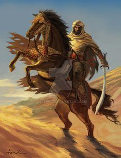 Walid by Bertuccio on DeviantArt Fantasy Character Design, Character Inspiration, Character Art, Fantasy Warrior, Fantasy Art, Herren Hand Tattoos, Arabian Knights, Arabian Art, Islamic Cartoon
