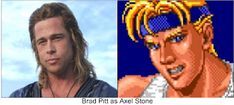 """Brad Pitt as Axel Stone. Why not? He was perfect as Achilles in """"Troy"""". I think he would have made a great Axel Stone in the Streets Of Rage movie. Beat Em Up, Achilles, Brad Pitt, Troy, Stone, Movies, Rock, Films, Film"""