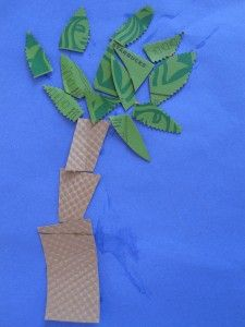 Tree from upcycled coffee sleeve – Arbor Day Craft: No Time For Flash Cards
