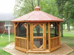 This company offers a gazebo with a fire pit built inside. Backyard Projects, Outdoor Projects, Garden Projects, Wood Projects, Outdoor Ideas, Backyard Ideas, Gazebo With Fire Pit, Front Door Entrance, Gazebo Ideas