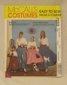 1950s Skirt Costume Pattern Poodle Sock Hop McCalls 8136 Adult Sz10 Easy To Sew Cheap Shipping