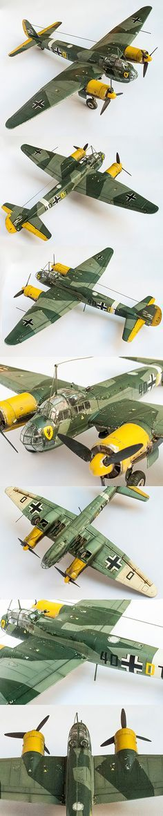 Junkers Ju 88 by Korhan AKBAYTOGAN - While this is a model, it offers an excellent idea of what the Junkers Ju 88 actually looked like. Plastic Model Kits, Plastic Models, Scale Models, Military Aircraft, Ww2 Aircraft, Fighter Aircraft, Mercedes Stern, Aircraft Propeller, Hobby Kits