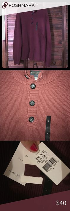 🆕Men's Banana Republic Sweater in Maroon Brand new men's sweater, comes with extra buttons and matching thread. Great for the upcoming winter season! Comfortable material with buttons for just the right touch. Free gift with purchase :) Banana Republic Sweaters V-Neck