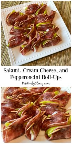 These Salami, Cream Cheese, and Pepperoncini Roll-Ups are a family favorite appetizers! Easy to make and even easier to enjoy! Finger Food Appetizers, Yummy Appetizers, Finger Foods, Appetizer Recipes, Keto Recipes, Dinner Recipes, Healthy Recipes, Salami Appetizer, Salami Recipes