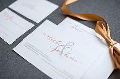 Simple Ampersand Shimmery Wedding Invitation  Custom by LamaWorks