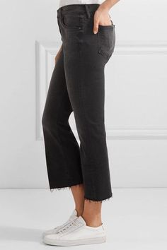 Mother - The Nomad Cropped Mid-rise Flared Jeans - Black - 25