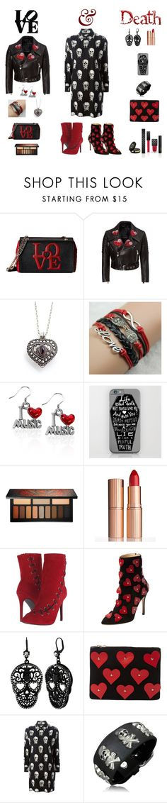 """""""""""Love & Death"""" Outfit"""" by billsacred ❤ liked on Polyvore featuring Love Moschino, Kat Von D, Charlotte Tilbury, Penny Loves Kenny, Charlotte Olympia, Betsey Johnson, Yves Saint Laurent, Bling Jewelry and Gucci"""