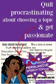 Understand what makes a persuasive speech a great fit, for audience and speaker. Guidelines   50 topics. Speech Writing Tips, Persuasive Speech Topics, Writing Strategies, Public Speaking Activities, Public Speaking Tips, Speech Outline, Middle School Ela, Learn English, Esl