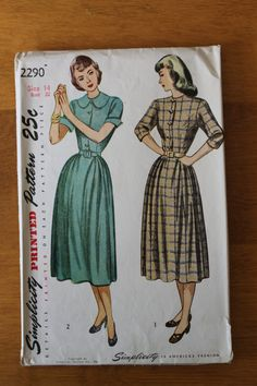 Vintage button down dress sewing pattern. by thevintagewifesews, $22.00