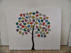 Wat deelt Lisa?: DIY: schilderij puzzelstukjes boom