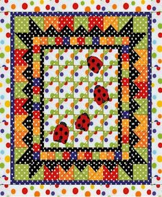 Ladybug in Polka Dotville quilt by Wendy from Ivory Spring.  She created this design for a quilt along.  Get the free pattern: www.freequiltpatterns.info/quilt-pattern-designer---wendy---ladybug-in-polka-dotville.htm
