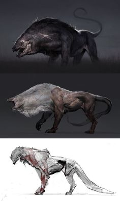 some cat beast concepts for fun Jeff Simpson Monster Design, Monster Art, Alien Creatures, Mythical Creatures, Creature Feature, Creature Design, Fantasy Beasts, Fantasy Art, Beast Creature