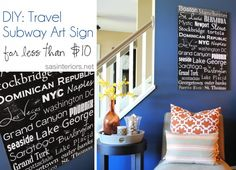 Travel Subway Art Sign for your wall