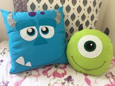 Cute Pillows, Baby Pillows, Kids Pillows, Animal Pillows, Baby Diy Projects, Cute Sewing Projects, Sewing Crafts, Monster Inc Birthday, Cushion Cover Designs