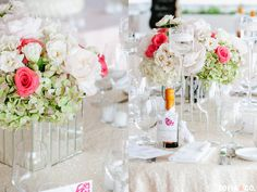 Coral, White and Green Centerpieces in Mirrored Vases at a Galley Beach wedding on Nantucket. Floral Design by Soiree Floral - www.soireefloral.com | Photography by Zofia & Co. - www.zofiaphoto.com #nantucket #soireefloral
