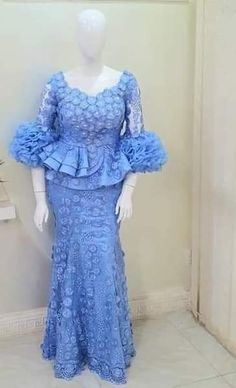 skirt and blouse styles Long African Dresses, Latest African Fashion Dresses, African Print Dresses, African Print Fashion, African Clothes, Nigerian Lace Dress, Nigerian Lace Styles, African Lace Styles, Lace Gown Styles