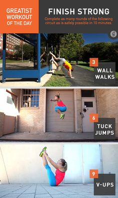 Greatist Workout of the Day: Friday, January 30th: 10 minutes of 3 wall-walks, 6 tuck jumps, 9 V-ups