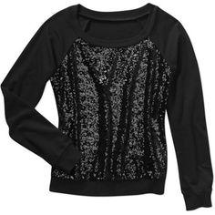No Boundaries Juniors Sequin Front Sweatshirt, Black