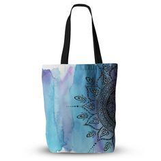 "Li Zamperini ""Blue Mandala"" Aqua Black Everything Tote Bag"