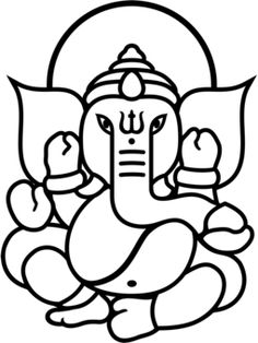 Pics For > Simple Ganesha Face Drawing Ganesha Drawing, Buddha Drawing, Lord Ganesha Paintings, Outline Drawings, Easy Drawings, Face Outline, Ganesha Tattoo Lotus, Lotus Tattoo, Tattoo Ink